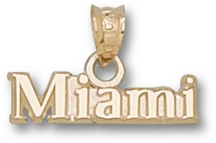 """Miami Hurricanes """"Miami"""" Pendant - 14KT Gold Jewelry"""