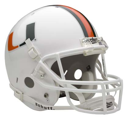 Miami Hurricanes NCAA Schutt Full Size Replica Football Helmet
