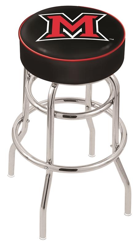 "Miami (Ohio) RedHawks (L7C1) 30"" Tall Logo Bar Stool by Holland Bar Stool Company (with Double Ring Swivel Chrome Base)"