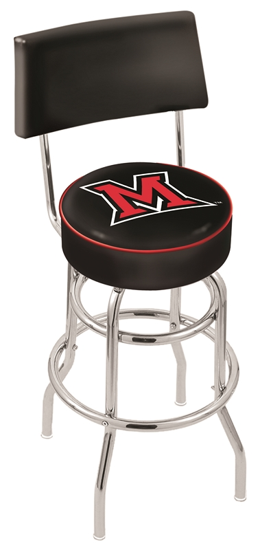 """Miami (Ohio) RedHawks (L7C4) 30"""" Tall Logo Bar Stool by Holland Bar Stool Company (with Double Ring Swivel Chrome Base and Chair Seat Back)"""