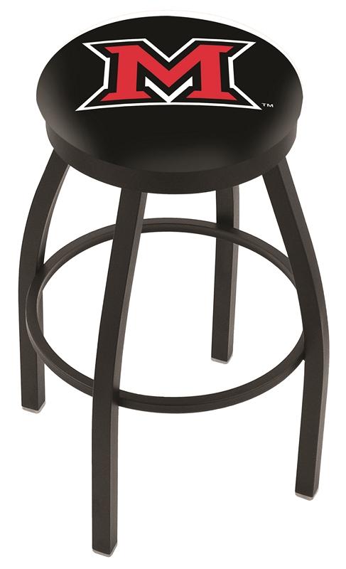 "Miami (Ohio) RedHawks (L8B2B) 30"" Tall Logo Bar Stool by Holland Bar Stool Company (with Single Ring Swivel Black Solid Welded Base)"