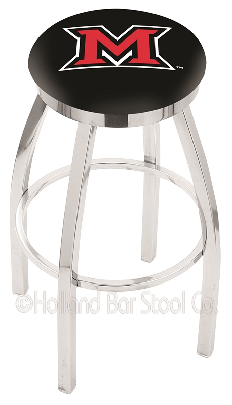 """Miami (Ohio) RedHawks (L8C2C) 30"""" Tall Logo Bar Stool by Holland Bar Stool Company (with Single Ring Swivel Chrome Solid Welded Base)"""
