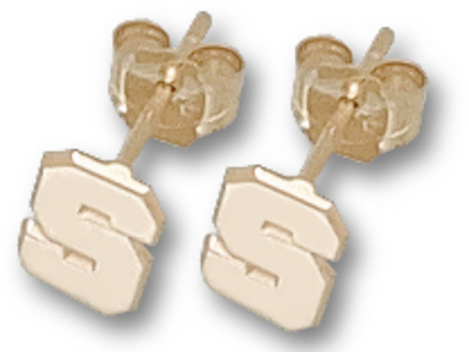 """Michigan State Spartans 1/4"""" Polished """"S"""" Post Earrings - 10KT Gold Jewelry"""