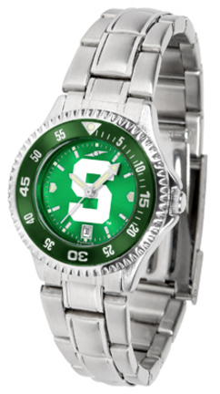 Michigan State Spartans Competitor AnoChrome Ladies Watch with Steel Band and Colored Bezel