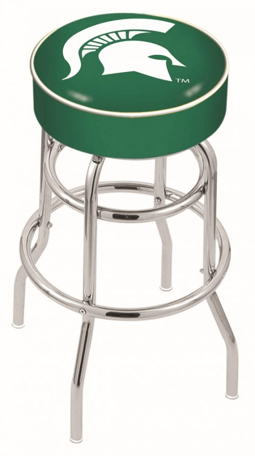 """Michigan State Spartans (L7C1) 25"""" Tall Logo Bar Stool by Holland Bar Stool Company (with Double Ring Swivel Chrome Base)"""