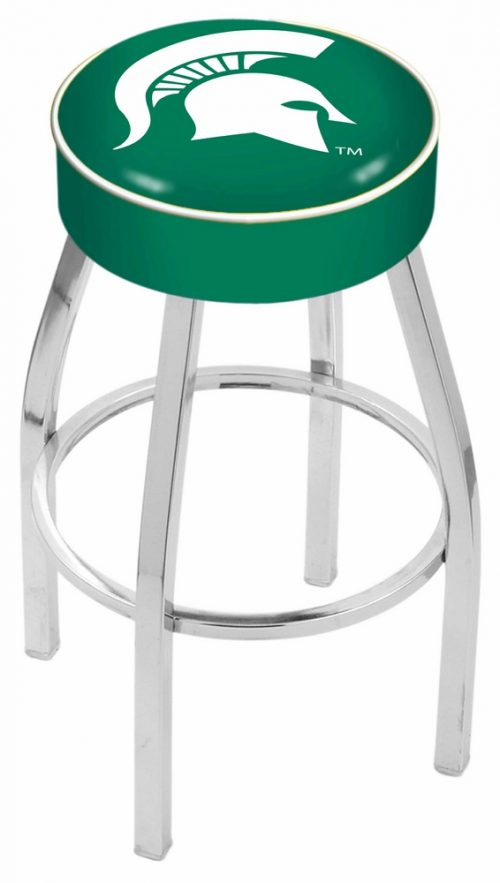 """Michigan State Spartans (L8C1) 30"""" Tall Logo Bar Stool by Holland Bar Stool Company (with Single Ring Swivel Chrome Solid Welded Base)"""