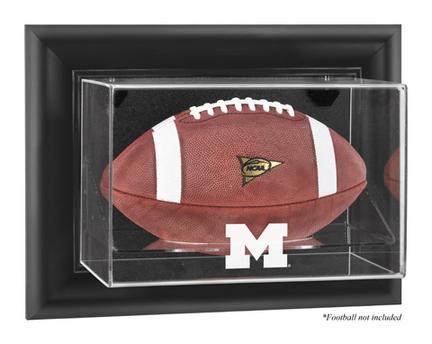 Michigan Wolverines Black Framed Wall Mountable Logo Football Display Case