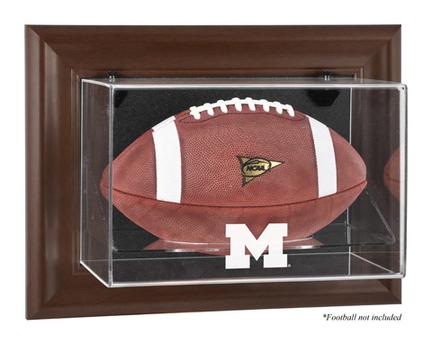 Michigan Wolverines Brown Framed Wall Mountable Logo Football Display Case
