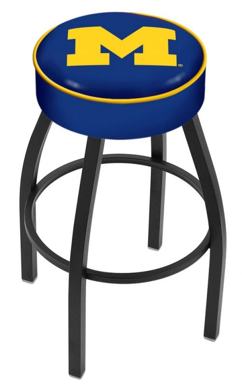 """Michigan Wolverines (L8B1) 25"""" Tall Logo Bar Stool by Holland Bar Stool Company (with Single Ring Swivel Black Solid Welded Base)"""