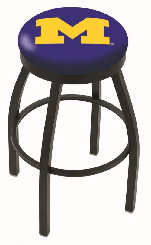 "Michigan Wolverines (L8B2B) 30"" Tall Logo Bar Stool by Holland Bar Stool Company (with Single Ring Swivel Black Solid Welded Base)"