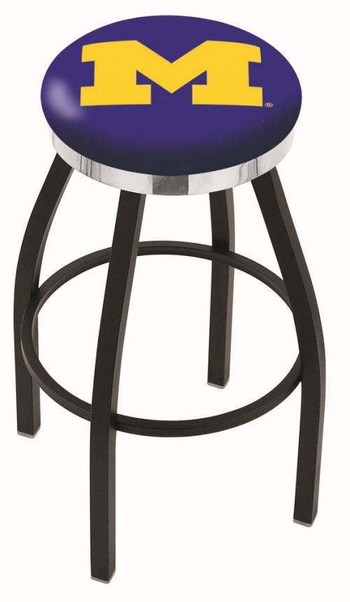 "Michigan Wolverines (L8B2C) 30"" Tall Logo Bar Stool by Holland Bar Stool Company (with Single Ring Swivel Black Solid Welded Base)"