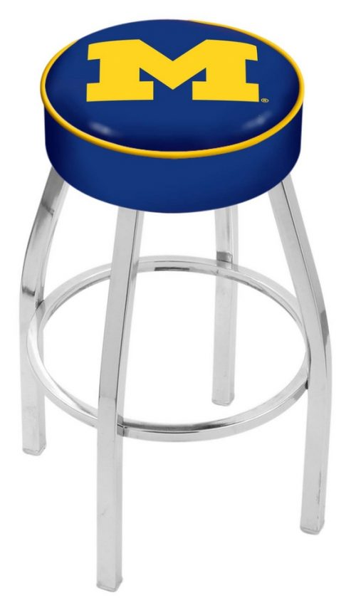 "Michigan Wolverines (L8C1) 25"" Tall Logo Bar Stool by Holland Bar Stool Company (with Single Ring Swivel Chrome Solid Welded Base)"
