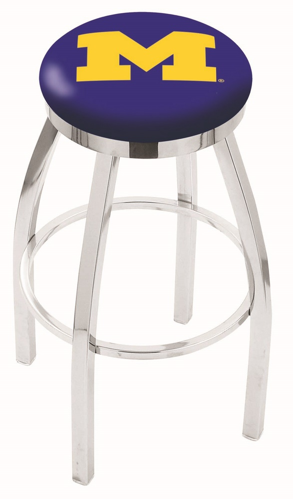 """Michigan Wolverines (L8C2C) 30"""" Tall Logo Bar Stool by Holland Bar Stool Company (with Single Ring Swivel Chrome Solid Welded Base)"""