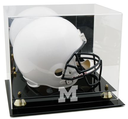 Michigan Wolverines Logo Golden Classic Full Size Helmet Display Case