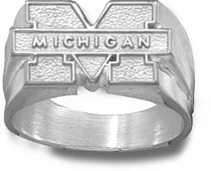 """Michigan Wolverines """"M Michigan"""" Men's Ring Size 10 1/2 - Sterling Silver Jewelry"""