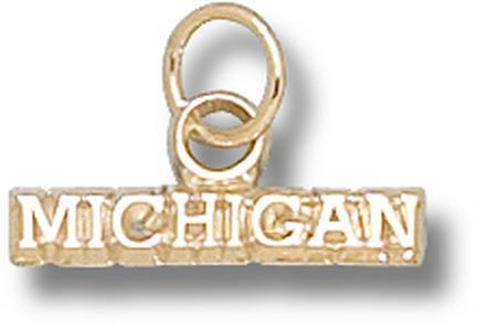 "Michigan Wolverines ""Michigan"" Charm - 14KT Gold Jewelry"