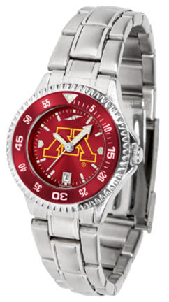 Minnesota Golden Gophers Competitor AnoChrome Ladies Watch with Steel Band and Colored Bezel