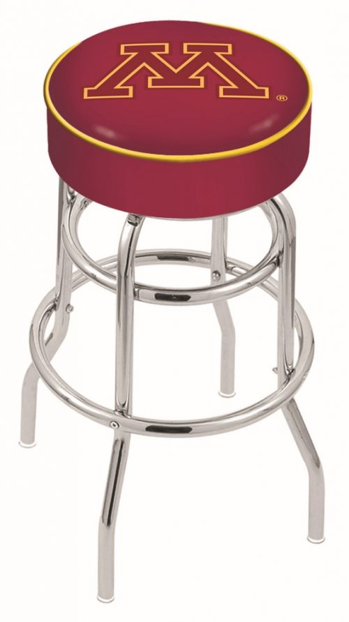 """Minnesota Golden Gophers (L7C1) 25"""" Tall Logo Bar Stool by Holland Bar Stool Company (with Double Ring Swivel Chrome Base)"""