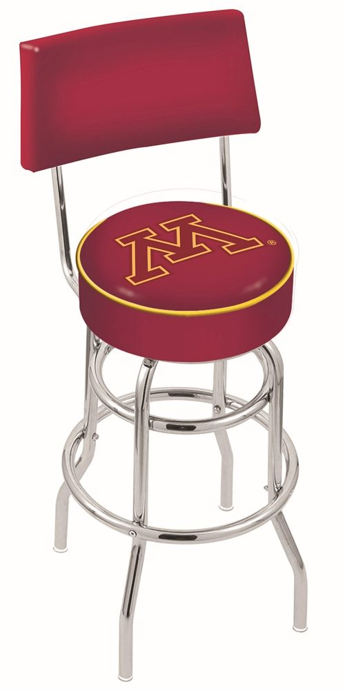 """Minnesota Golden Gophers (L7C4) 30"""" Tall Logo Bar Stool by Holland Bar Stool Company (with Double Ring Swivel Chrome Base and Chair Seat Back)"""