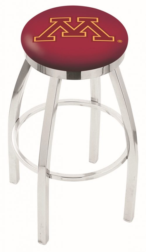"""Minnesota Golden Gophers (L8C2C) 25"""" Tall Logo Bar Stool by Holland Bar Stool Company (with Single Ring Swivel Chrome Solid Welded Base)"""