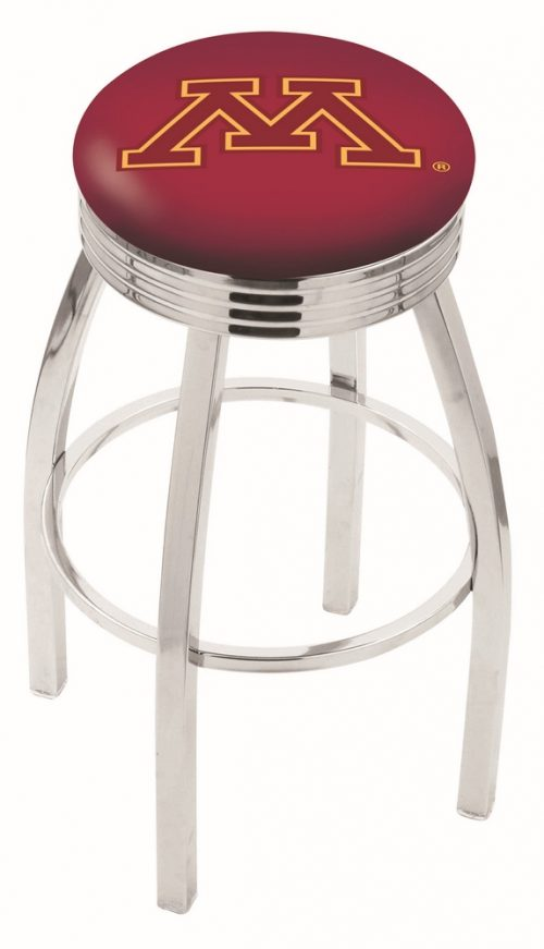 """Minnesota Golden Gophers (L8C3C) 30"""" Tall Logo Bar Stool by Holland Bar Stool Company (with Single Ring Swivel Chrome Solid Welded Base)"""