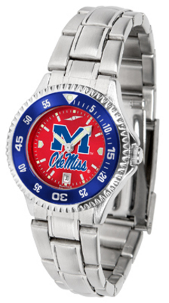 Mississippi (Ole Miss) Rebels Competitor AnoChrome Ladies Watch with Steel Band and Colored Bezel