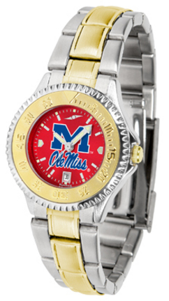Mississippi (Ole Miss) Rebels Competitor AnoChrome Ladies Watch with Two-Tone Band