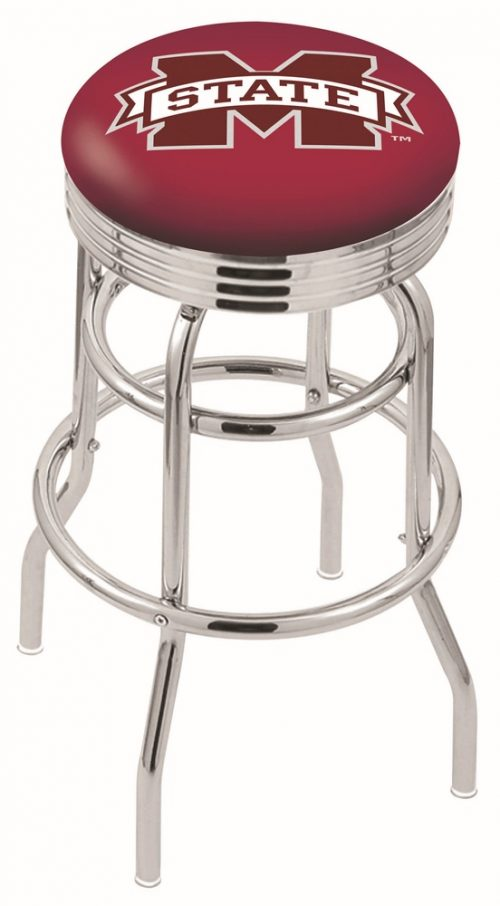 """Mississippi State Bulldogs (L7C3C) 25"""" Tall Logo Bar Stool by Holland Bar Stool Company (with Double Ring Swivel Chrome Base)"""