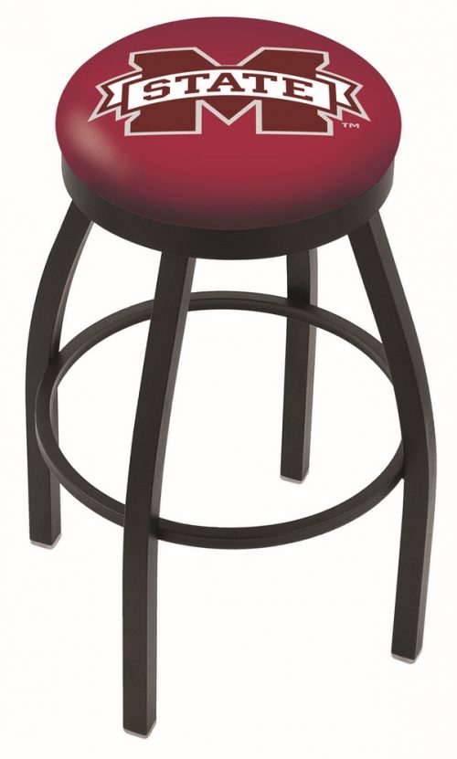 "Mississippi State Bulldogs (L8B2B) 30"" Tall Logo Bar Stool by Holland Bar Stool Company (with Single Ring Swivel Black Solid Welded Base)"