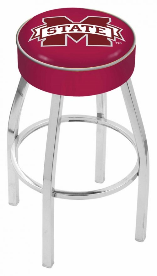 """Mississippi State Bulldogs (L8C1) 25"""" Tall Logo Bar Stool by Holland Bar Stool Company (with Single Ring Swivel Chrome Solid Welded Base)"""