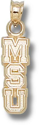 """Mississippi State Bulldogs Vertical """"MSU"""" 5/8"""" Pendant - 10KT Gold Jewelry"""