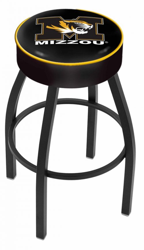 "Missouri Tigers (L8B1) 25"" Tall Logo Bar Stool by Holland Bar Stool Company (with Single Ring Swivel Black Solid Welded Base)"