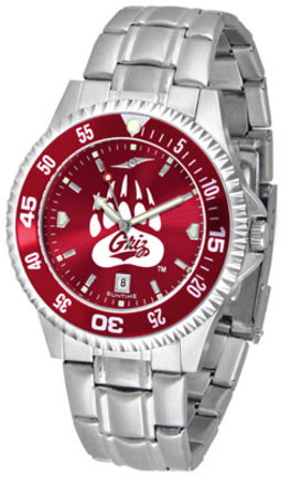 Montana Grizzlies Competitor AnoChrome Men's Watch with Steel Band and Colored Bezel