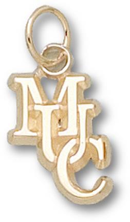 "Mount Union Purple Raiders Interlocked ""MUC"" 1/2"" Charm - 14KT Gold Jewelry"