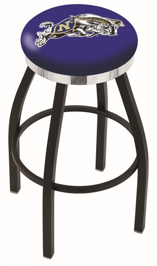 "Navy Midshipmen (L8B2C) 25"" Tall Logo Bar Stool by Holland Bar Stool Company (with Single Ring Swivel Black Solid Welded Base)"