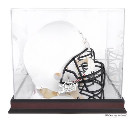 Navy Midshipmen Mahogany Logo Football Helmet Display Case with Mirror Back