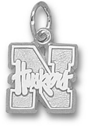 "Nebraska Cornhuskers 3/8"" ""N Huskers"" Charm - 10KT White Gold Jewelry"
