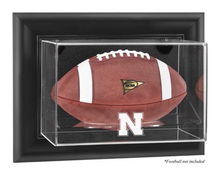 Nebraska Cornhuskers Black Framed Wall Mountable Logo Football Display Case