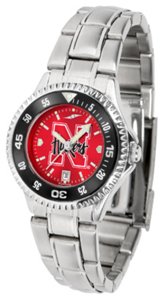 Nebraska Cornhuskers Competitor AnoChrome Ladies Watch with Steel Band and Colored Bezel