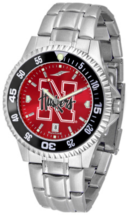 Nebraska Cornhuskers Competitor AnoChrome Men's Watch with Steel Band and Colored Bezel