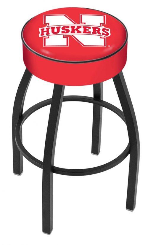 "Nebraska Cornhuskers (L8B1) 30"" Tall Logo Bar Stool by Holland Bar Stool Company (with Single Ring Swivel Black Solid Welded Base)"