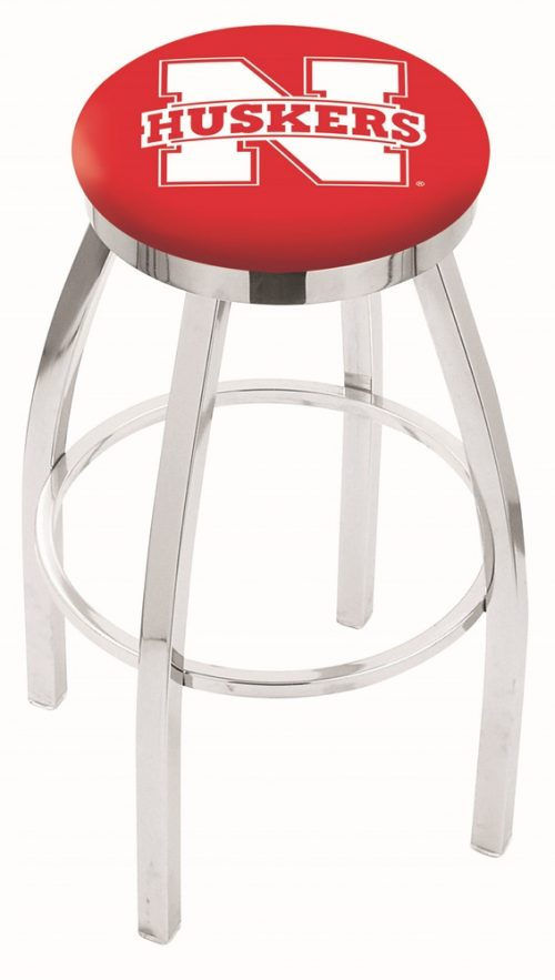 "Nebraska Cornhuskers (L8C2C) 25"" Tall Logo Bar Stool by Holland Bar Stool Company (with Single Ring Swivel Chrome Solid Welded Base)"