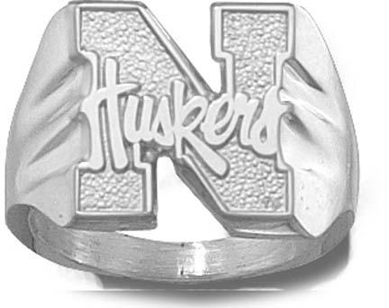 """Nebraska Cornhuskers """"N Huskers"""" Men's Ring Size 10 1/2 - Sterling Silver Jewelry"""