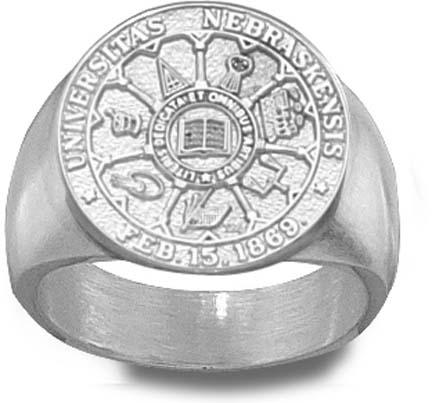 """Nebraska Cornhuskers """"Seal"""" Men's Ring Size 10 1/4 - Sterling Silver Jewelry"""