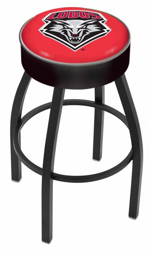 "New Mexico Lobos (L8B1) 30"" Tall Logo Bar Stool by Holland Bar Stool Company (with Single Ring Swivel Black Solid Welded Base)"