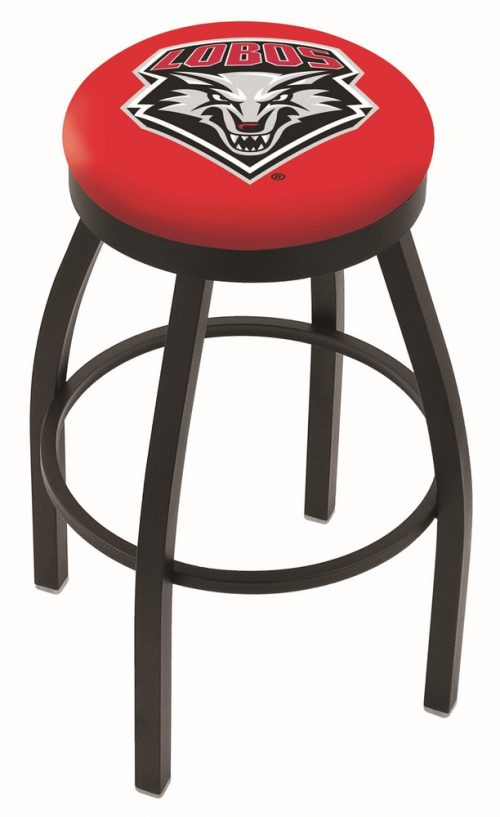 "New Mexico Lobos (L8B2B) 25"" Tall Logo Bar Stool by Holland Bar Stool Company (with Single Ring Swivel Black Solid Welded Base)"