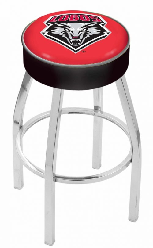 """New Mexico Lobos (L8C1) 25"""" Tall Logo Bar Stool by Holland Bar Stool Company (with Single Ring Swivel Chrome Solid Welded Base)"""