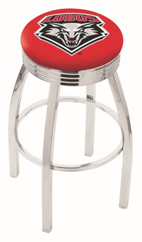 """New Mexico Lobos (L8C3C) 30"""" Tall Logo Bar Stool by Holland Bar Stool Company (with Single Ring Swivel Chrome Solid Welded Base)"""