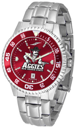 New Mexico State Aggies Competitor AnoChrome Men's Watch with Steel Band and Colored Bezel