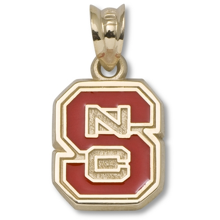 """North Carolina State Wolfpack 3/8"""" """"S"""" """"NC"""" Red Enamel Pendant - 10KT Gold Jewelry"""